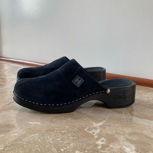 Chanel Navy Suede Clogs
